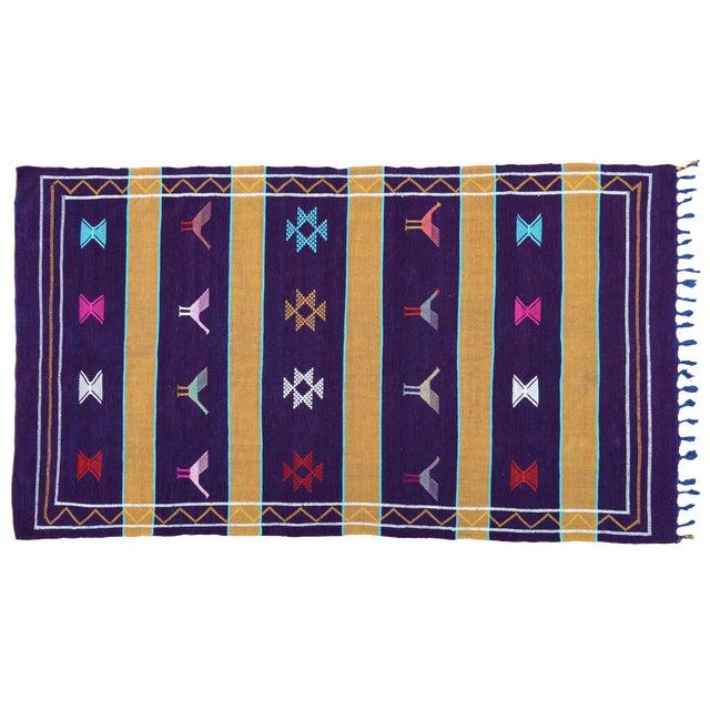 Purple Moroccan Silk Rug- 8' x 4'5'' For Sale