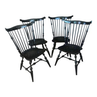 1970s Traditional Nichols & Stone Fan Back Windsor Dining Chairs - - Set of 4