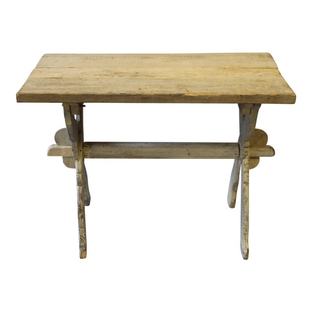 Bleached Pine Table With Trestle Base For Sale
