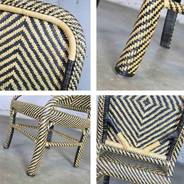 Two-Tone Chevron Pattern Rattan Wicker Tall Back Chair With Spiral Arms For Sale - Image 10 of 13