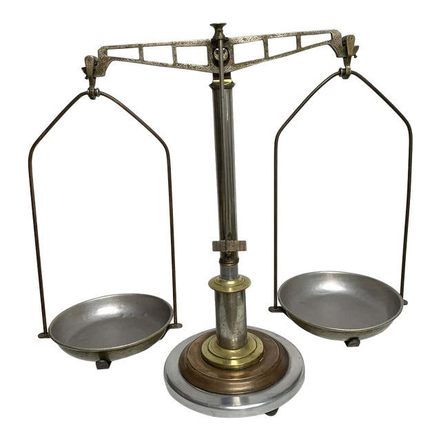 Antique Italian Mixed Metal Fruit Scale For Sale