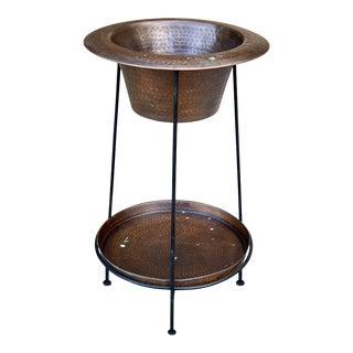 Vintage Arts & Crafts Hammered Copper Indoor Jardiniere Planter W/ Stand For Sale