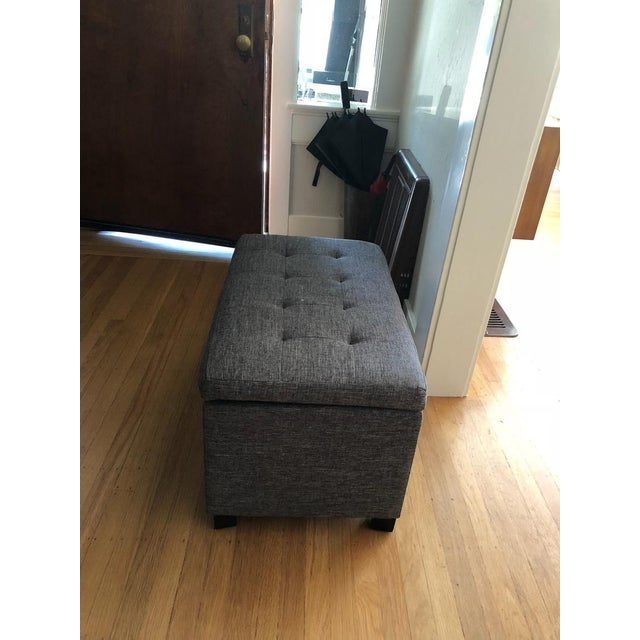 Contemporary Tainoki Gray Upholstered Button Tufted Ottoman For Sale - Image 9 of 10