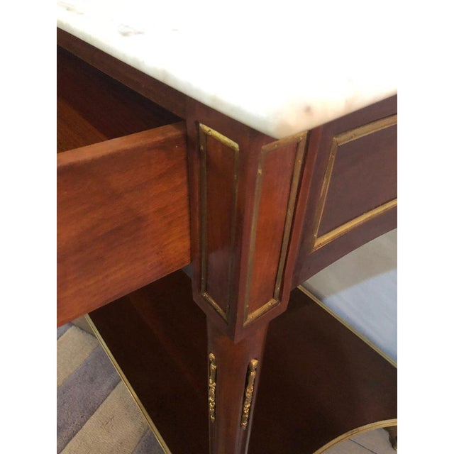 Pair Marble Top Russian Neoclassical Consoles W Concave Sides & Bronze Mounts For Sale In New York - Image 6 of 12