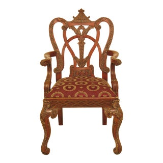 Modern Maitland Smith Chinese Chippendale Mahogany Open Armchair For Sale