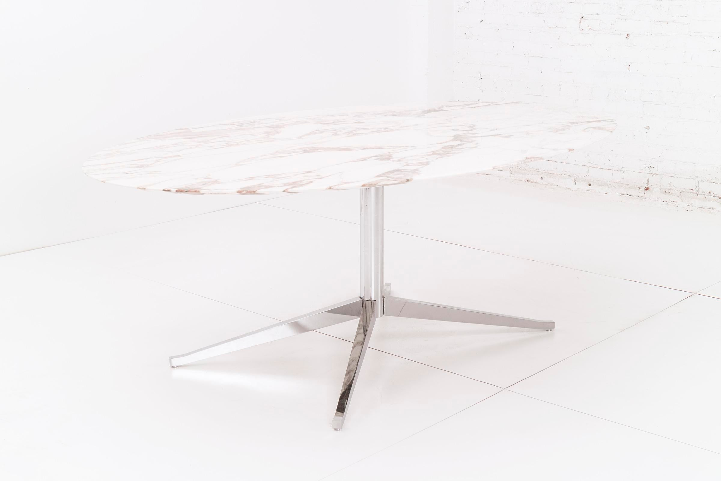 Chrome Plated Steel Pedestal Based Table With Calacatta Marble Top. This  Versatile Piece Can