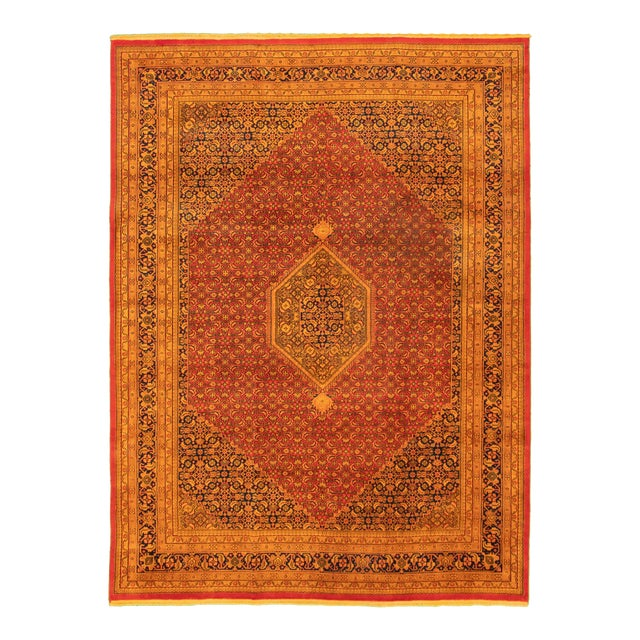 "Indian Orange Hand-Knotted Rug-8'2"" X"