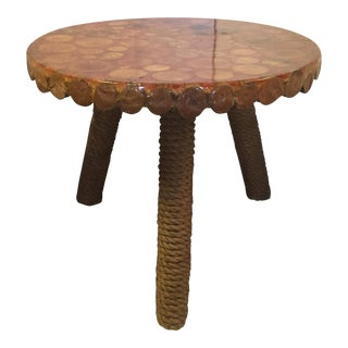Round Rope Covered Leg Wood Side Table For Sale