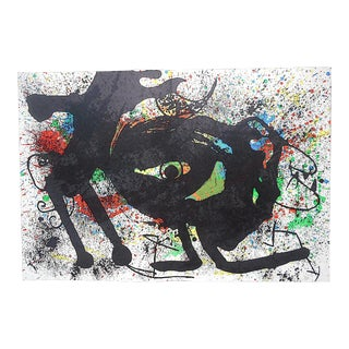 Vintage Mid 20th C. Ltd. Ed. Double Page Lithograph-Joan Miro-Derriere Le Miroir-1973 For Sale