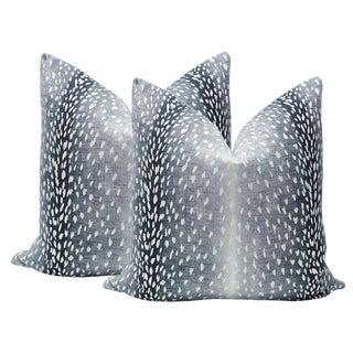 "22"" Navy Antelope Linen Print Pillows - a Pair For Sale"