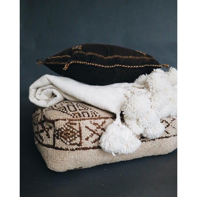 Boho Chic Café Au Lait' Moroccan Pom Blanket For Sale - Image 3 of 5