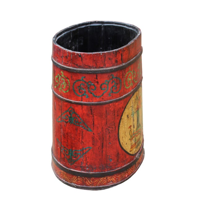Distressed Chinese Tibetan Barrel Shape Red Floral Bucket Wood Container For Sale In San Francisco - Image 6 of 9