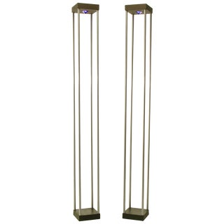 Pair of Memphis-Style Postmodern Floor Lamps With Cobalt Blue Glass Pyramids For Sale