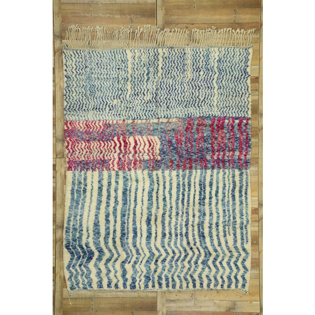 """Cerulean Contemporary Berber Moroccan Rug - 7'4"""" X 9'7"""" For Sale - Image 8 of 9"""