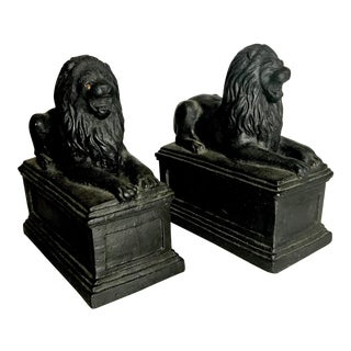 19th Century FrenchVictorian Cast Iron Recumbent Lion Chenet Figurines - a Pair For Sale