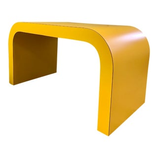 1980s Vtg Bright Yellow Waterfall Coffee Table For Sale