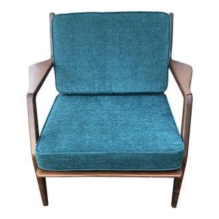 1960s Mid Century Modern Ib Kofod Larsen for Selig Teak Lounge Chair For Sale