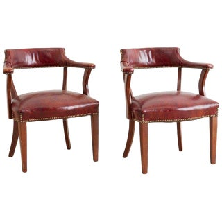 Pair of English Mahogany and Leather Captains Chairs For Sale