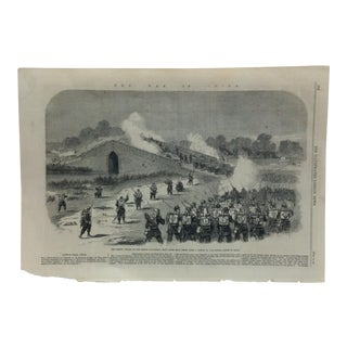 """Mid 19th Century Antique """"The French Attack on the Bridge Pa-LI - Chian - Eight Miles for Pekin"""" The Illustrated London News Print For Sale"""