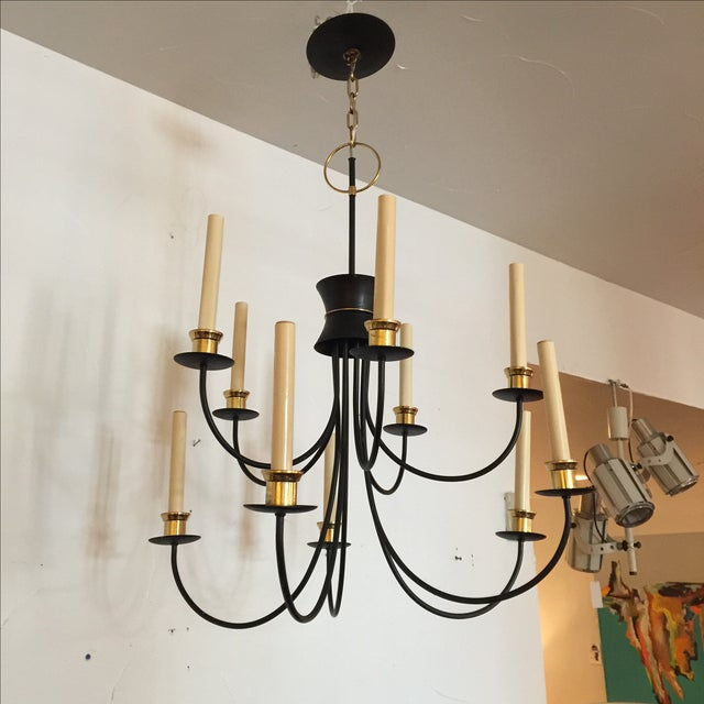 1960s Mid-Century 10 Lights Chandelier For Sale - Image 5 of 5