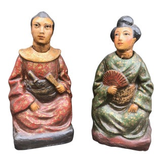 18th Century Antique Chinese Papier Mache Nodding Figures China - a Pair For Sale