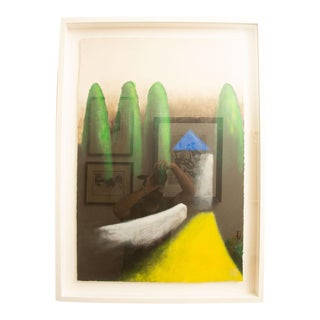 Larry Laslo Mixed Media Landscape Green, Yellow, Gray, Blue Painting on Paper Custom Framed Signed For Sale
