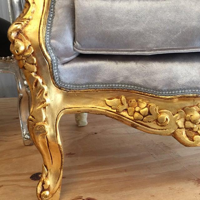 Gray Velvet Amp Gold Throne Chairs A Pair Chairish