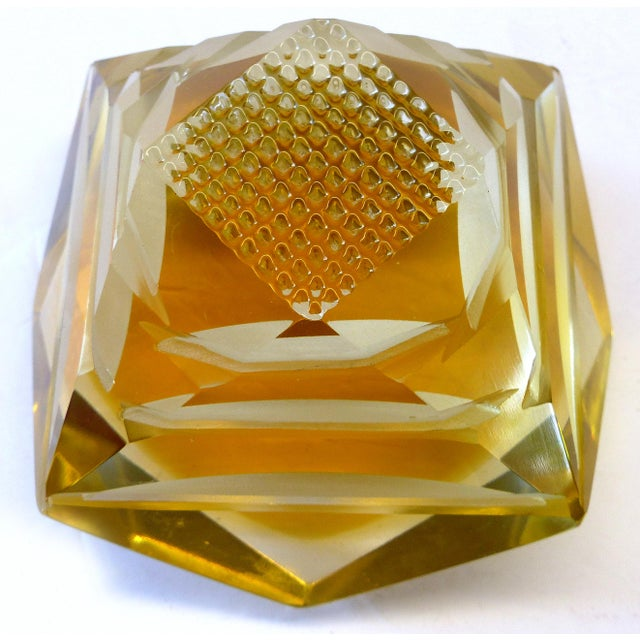 Murano Murano Glass Brilliant Cut Diamond Shape Paperweight For Sale - Image 4 of 9