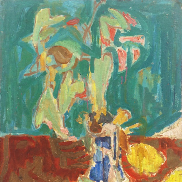 Victor Di Gesu 'Flowers in a Blue and White Jug' by Victor DI Gesu, 1960; California, Louvre, Academie Chaumiere, Los Angeles County Museum of Art For Sale - Image 4 of 10