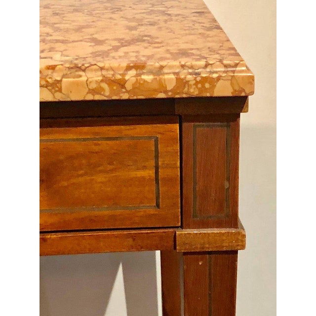 Pair of Maison Jansen Style Marble-Top Single Drawer Nightstands or End Tables For Sale In New York - Image 6 of 13
