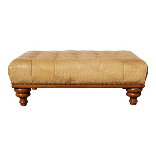 Grand Scale J J Custom Inc., McGregor Button Tufted Leather Ottoman Coffee Cocktail Table For Sale