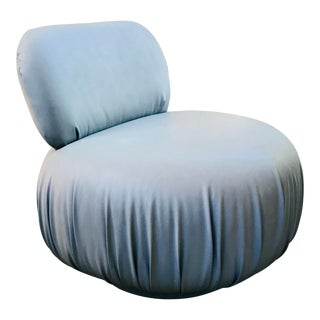 Grey Leather Round Art Deco Swivel Slipper Chair For Sale