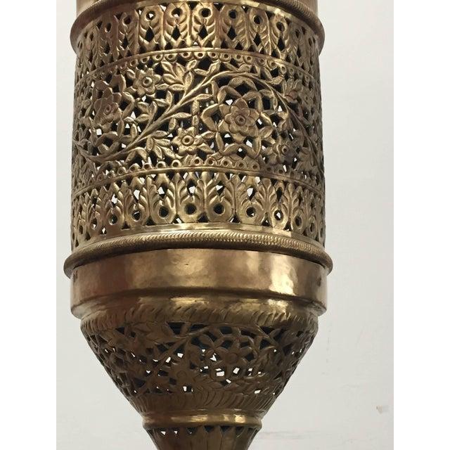 Moroccan Moorish Style Brass Pendant Light Fixture For Sale - Image 4 of 7
