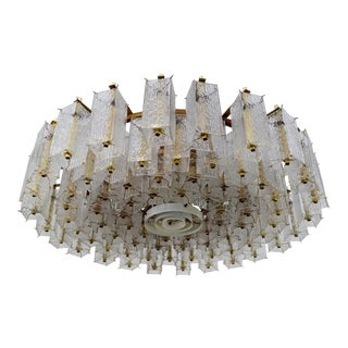 Mid Century Chandelier in Structured Glass and Brass From Europe For Sale