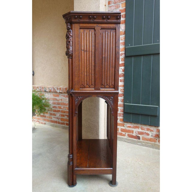 Antique French Carved Oak Gothic Vestment Cabinet For Sale In Dallas - Image 6 of 11