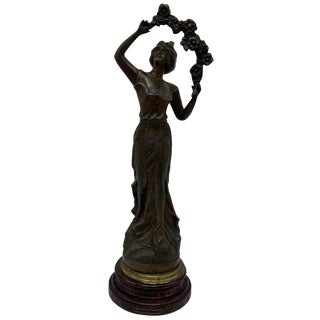 Early 20th Century French Cast-Metal 'Primèveres, Primrose' Figural Sculpture For Sale