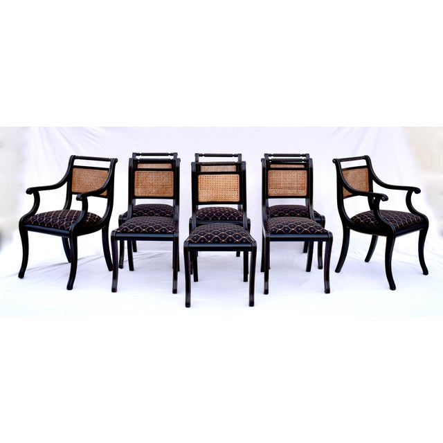Regency Double Caned Dining Chairs Made in Italy, Set of 8 For Sale - Image 13 of 13