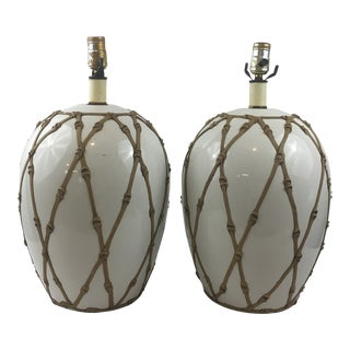 Faux Bamboo Lamps - a Pair For Sale