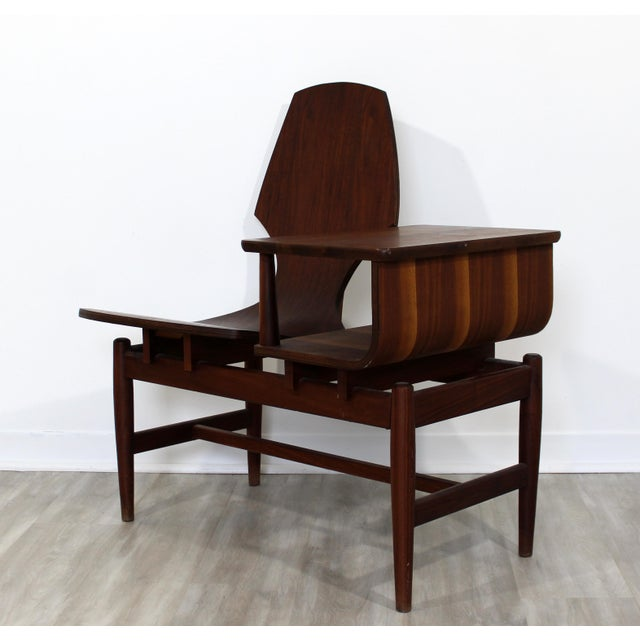 Plycraft Mid Century Modern Plycraft Bentwood Telephone Gossip Table & Side Chair For Sale - Image 4 of 11