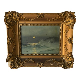 Antique Dutch Painting Signed Plater Frame 19x17 For Sale