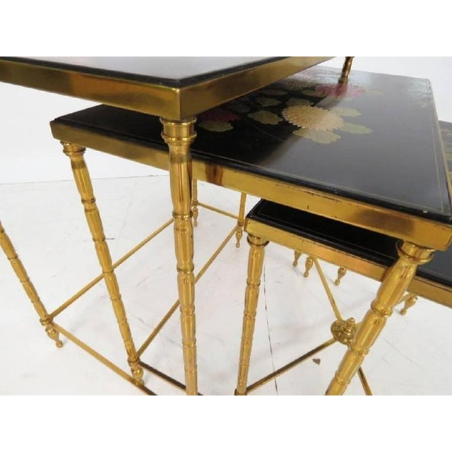 Custom Brass Bamboo Form Chinoiserie Nesting Tables For Sale - Image 4 of 6
