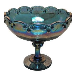 1970s Indiana Glass Iridescent Blue Carnival Glass Pedestal Compote Bowl For Sale