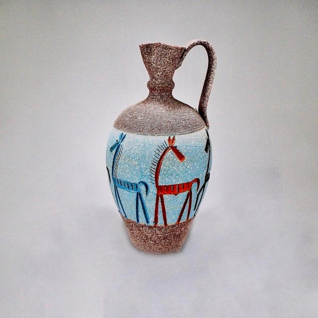 Mid-Century Modern Tall Italian Fratelli Fanciullacci Vase with Horses For Sale - Image 3 of 7
