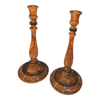 1980s Faux Painted & Lacquered Turned Wood Candlesticks - a Pair For Sale