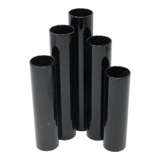 1980s Welded Iron Tubes Black Enameled Sculptural Ikebana Vase For Sale
