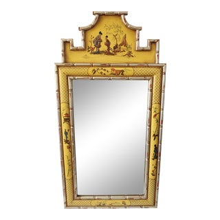 Vintage Yellow Chinoiserie Hand-Painted Mirror For Sale