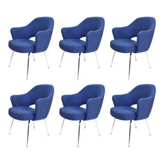 Eero Saarinen Executive Armchair in Blue Raf Simons Upholstery - Set of 6 For Sale
