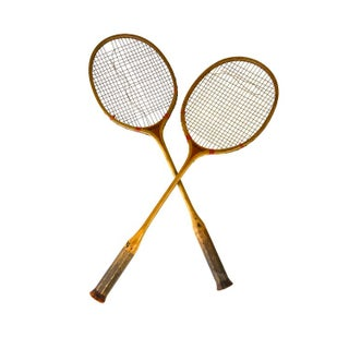 Vintage Early Wooden Badminton Racquets - A Pair
