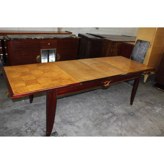 Metal 1940s French Art Deco Sycamore / Mahogany Dining Table For Sale - Image 7 of 9