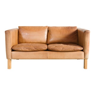 Late 20th Century Danish Leather Loveseat